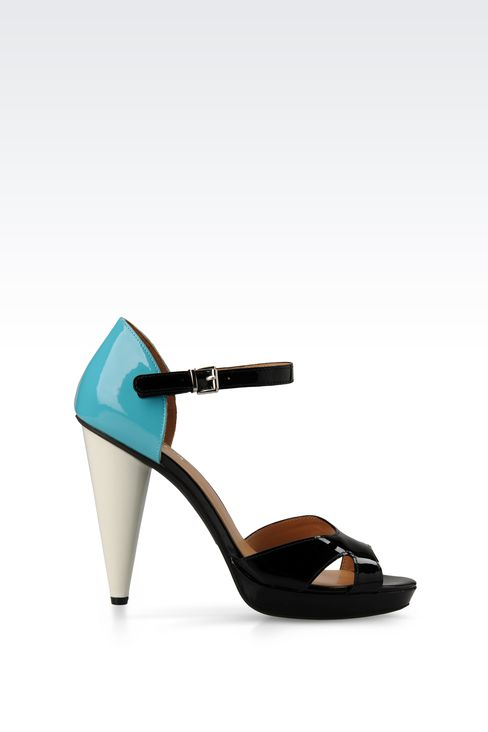 PATENT-LEATHER SANDAL WITH CONE HEEL: Platform sandals Women by Armani - 1