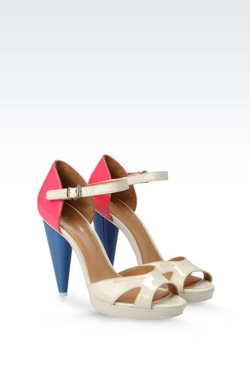 PATENT-LEATHER SANDAL WITH CONE HEEL: Platform sandals Women by Armani - 2