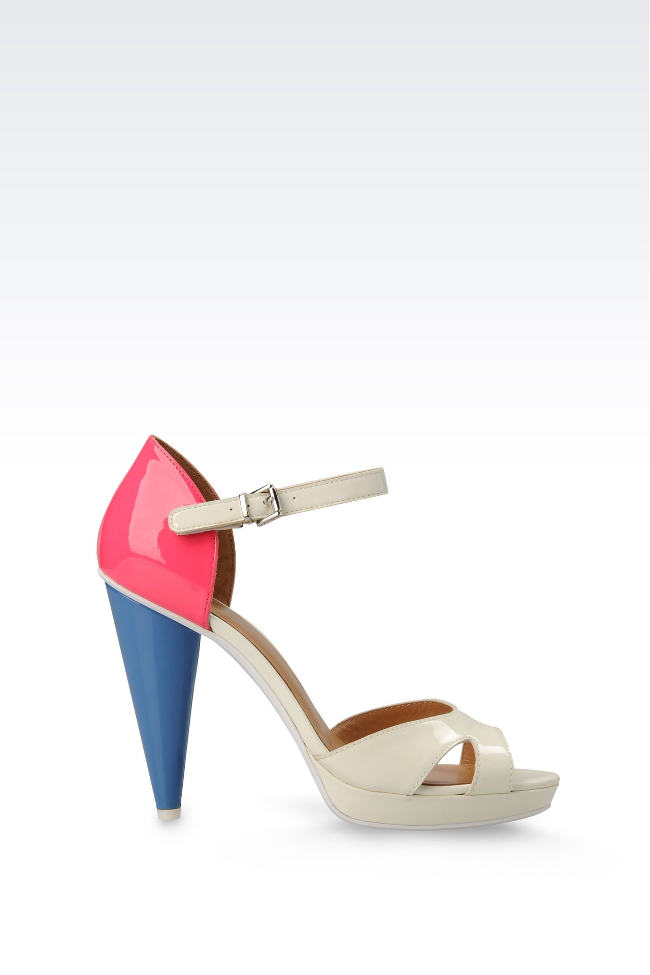 PATENT-LEATHER SANDAL WITH CONE HEEL: Platform sandals Women by Armani - 0