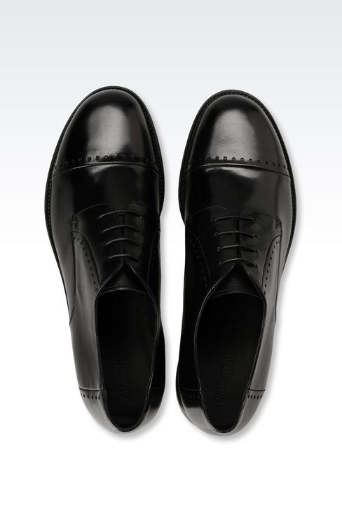 DERBY SHOE IN PARMA CALFSKIN WITH DETAIL WORK: Lace-up shoes Men by Armani - 3