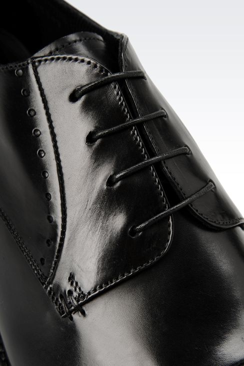 DERBY SHOE IN PARMA CALFSKIN WITH DETAIL WORK: Lace-up shoes Men by Armani - 4