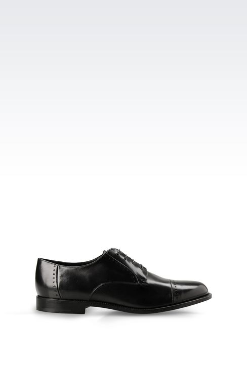 DERBY SHOE IN PARMA CALFSKIN WITH DETAIL WORK: Lace-up shoes Men by Armani - 1