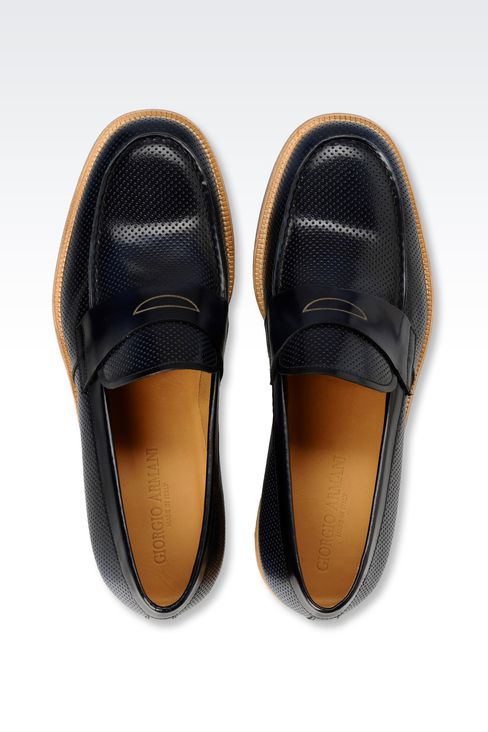 MICRO PERFORATED LEATHER LOAFER: Moccasins Men by Armani - 3