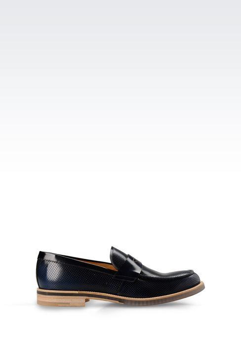 MICRO PERFORATED LEATHER LOAFER: Moccasins Men by Armani - 1