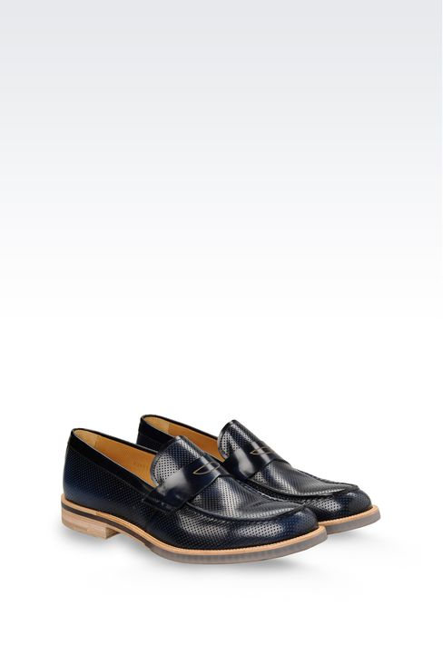 MICRO PERFORATED LEATHER LOAFER: Moccasins Men by Armani - 2