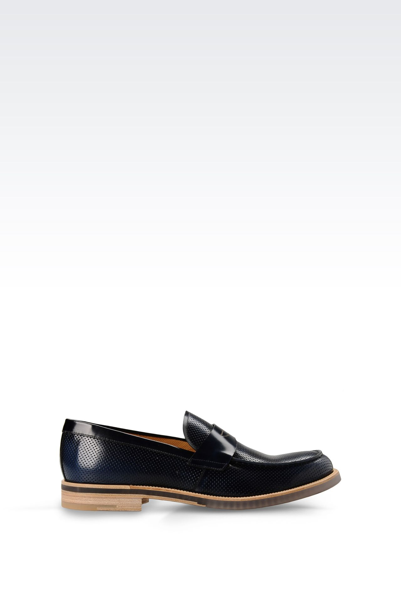 MICRO PERFORATED LEATHER LOAFER: Moccasins Men by Armani - 0