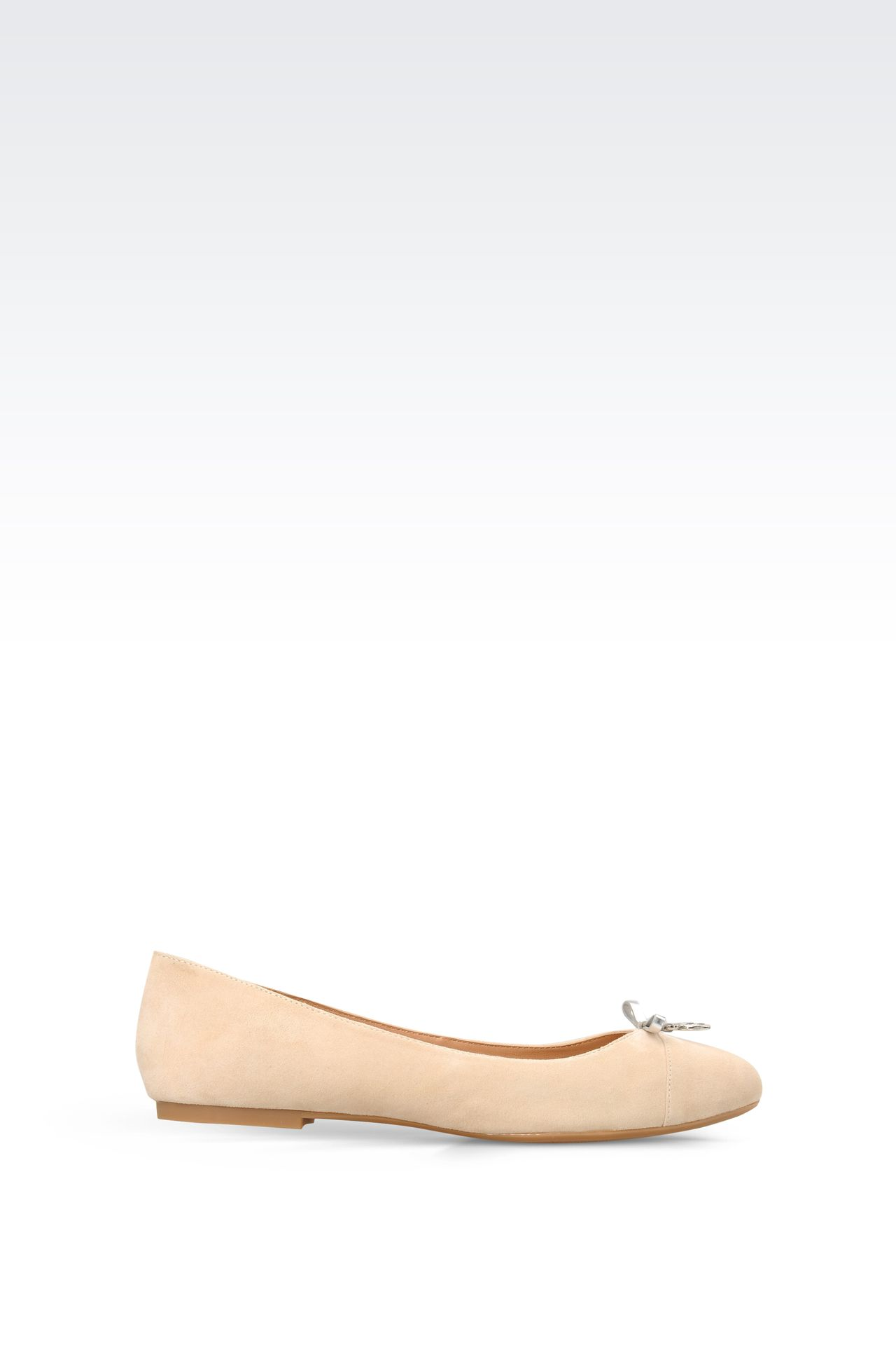 SUEDE BALLET FLAT WITH CHARM: Ballet flats Women by Armani - 0