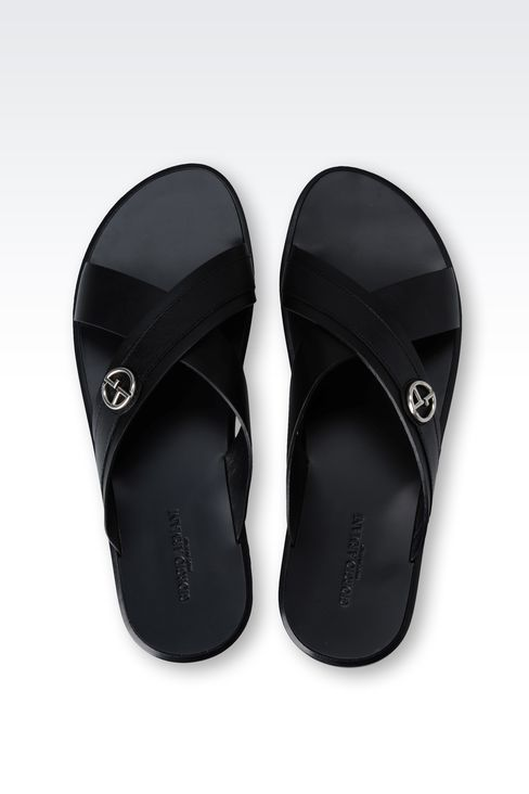 CROSSOVER SANDAL IN CALFSKIN LEATHER: Flat sandals Men by Armani - 3
