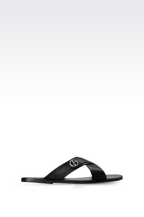 CROSSOVER SANDAL IN CALFSKIN LEATHER: Flat sandals Men by Armani - 1