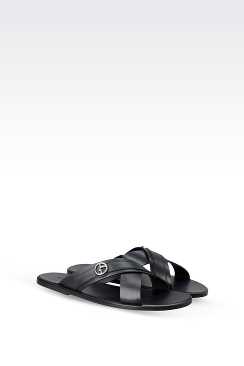 CROSSOVER SANDAL IN CALFSKIN LEATHER: Flat sandals Men by Armani - 2