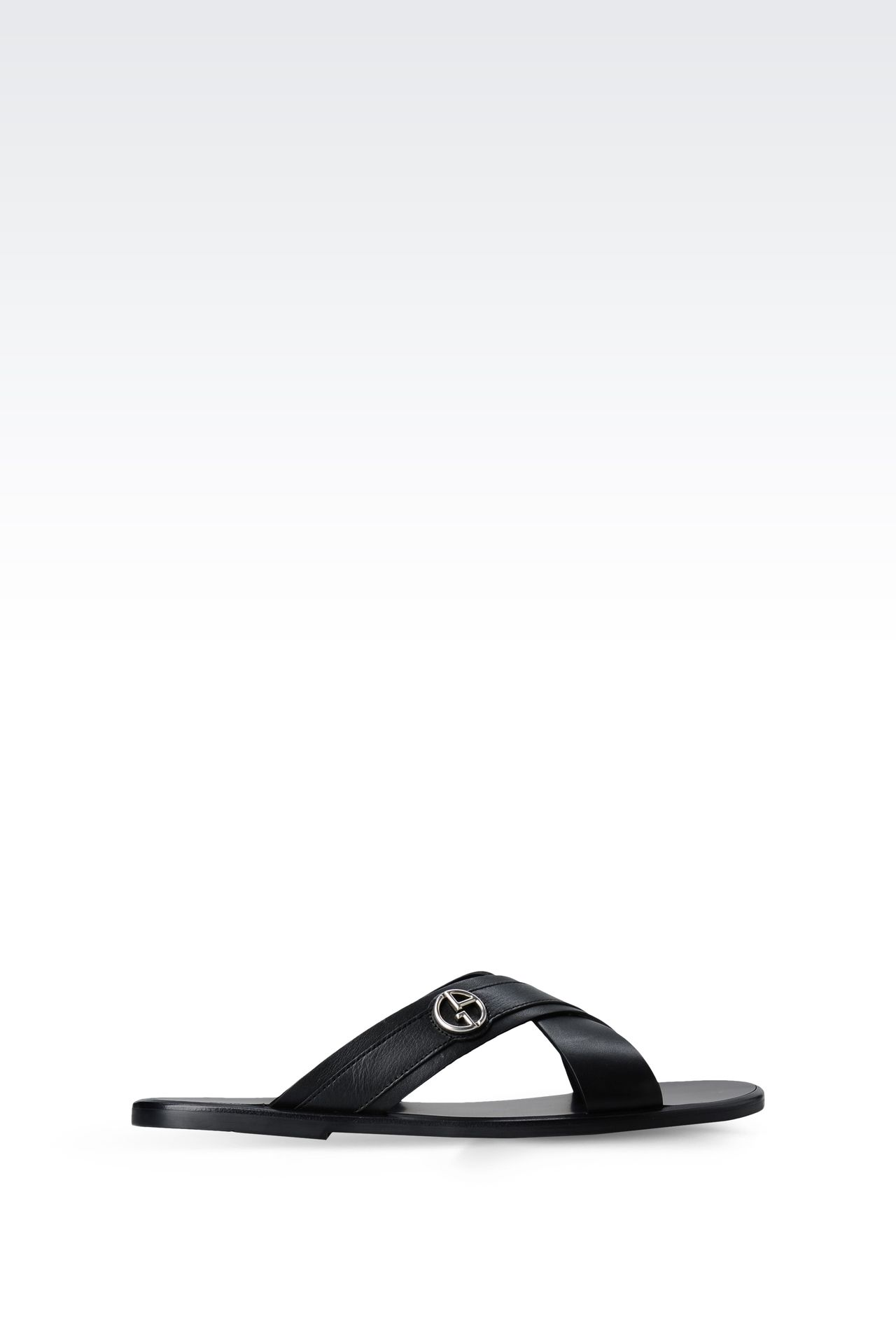 CROSSOVER SANDAL IN CALFSKIN LEATHER: Flat sandals Men by Armani - 0