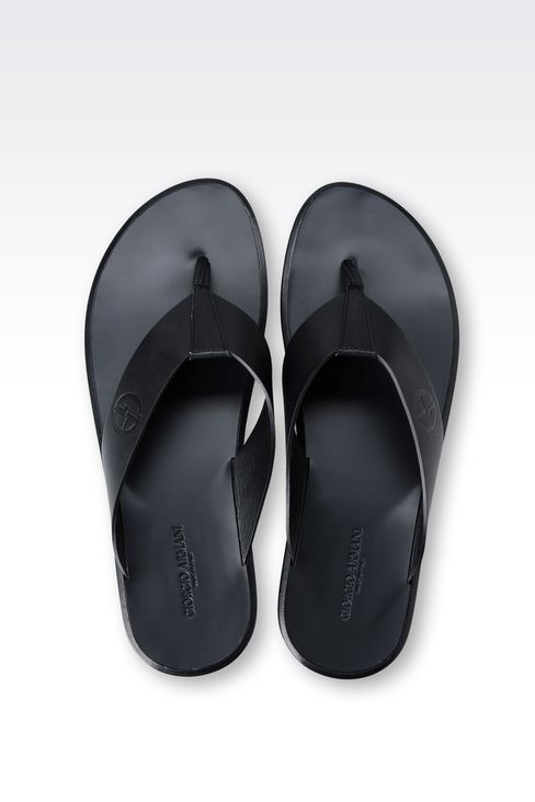 THONG SANDAL IN PRESTIGE CALFSKIN WITH LEATHER SOLE: Flat sandals Men by Armani - 3