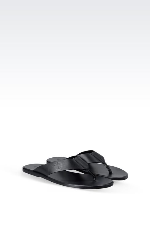 THONG SANDAL IN PRESTIGE CALFSKIN WITH LEATHER SOLE: Flat sandals Men by Armani - 2