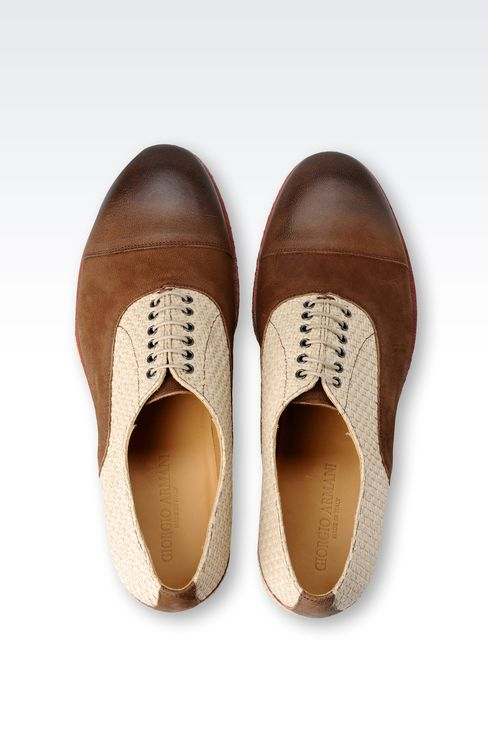 OXFORD IN LEATHER AND RAFFIA: Lace-up shoes Men by Armani - 3