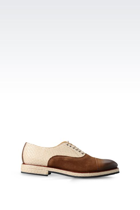OXFORD IN LEATHER AND RAFFIA: Lace-up shoes Men by Armani - 1