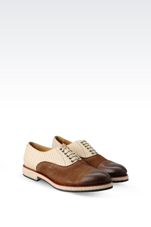OXFORD IN LEATHER AND RAFFIA: Lace-up shoes Men by Armani - 2
