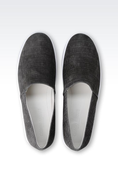 SLIP-ON IN CROC PRINT SUEDE : Sneakers Men by Armani - 3