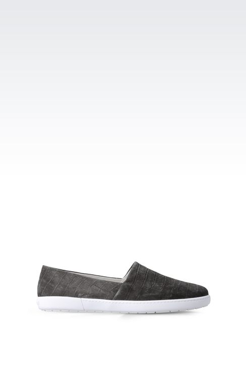 SLIP-ON IN CROC PRINT SUEDE : Sneakers Men by Armani - 1