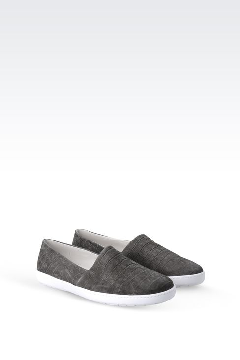 SLIP-ON IN CROC PRINT SUEDE : Sneakers Men by Armani - 2