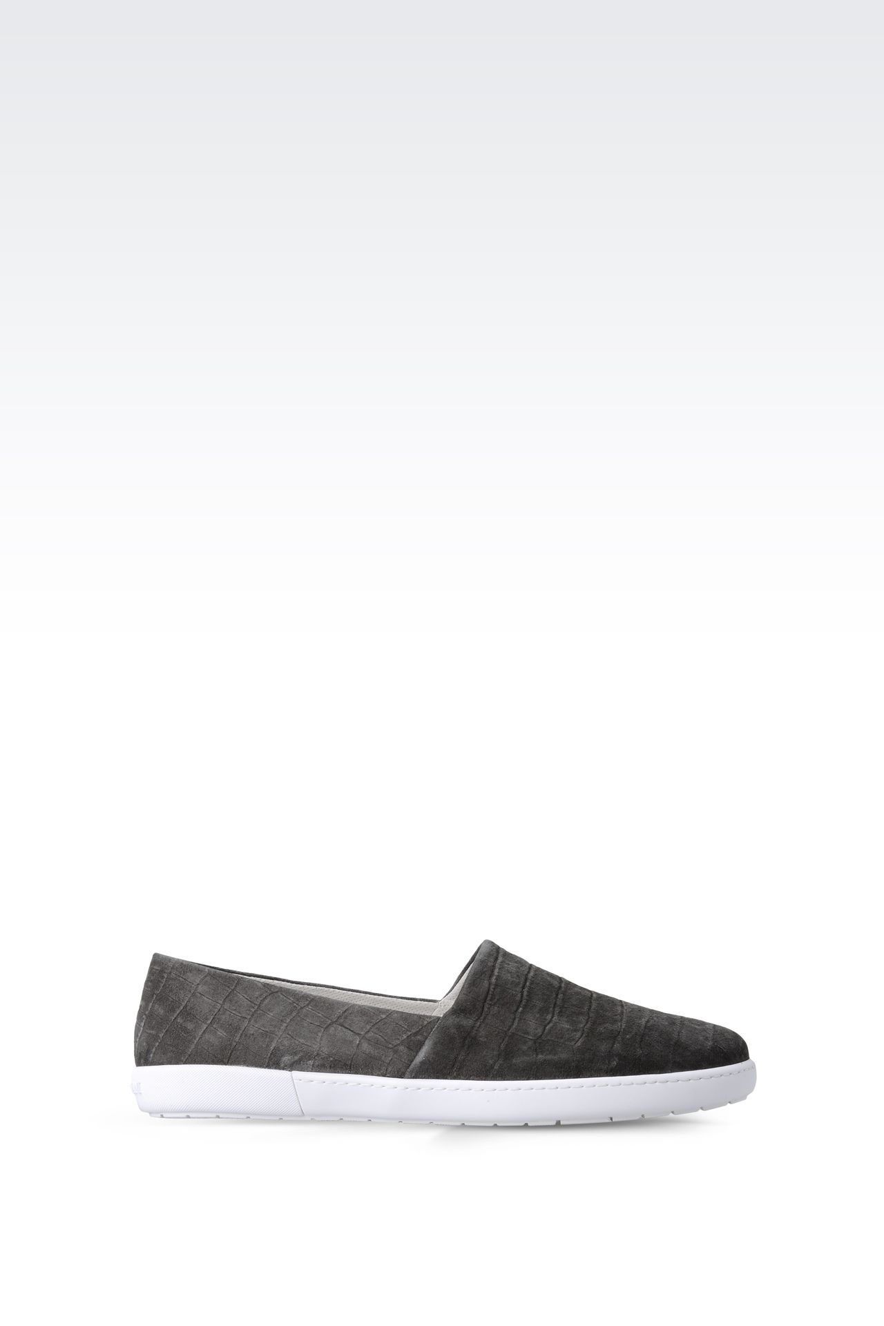 SLIP-ON IN CROC PRINT SUEDE : Sneakers Men by Armani - 0