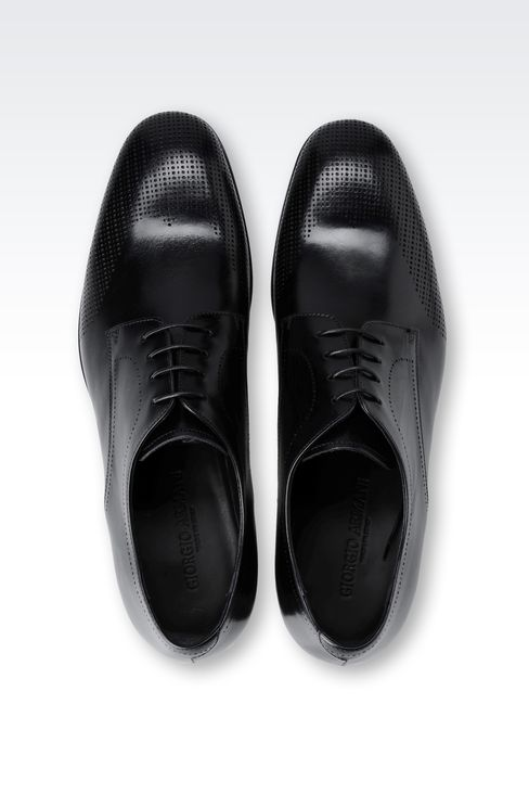 DERBY IN LASER-PERFORATED LEATHER: Lace-up shoes Men by Armani - 3