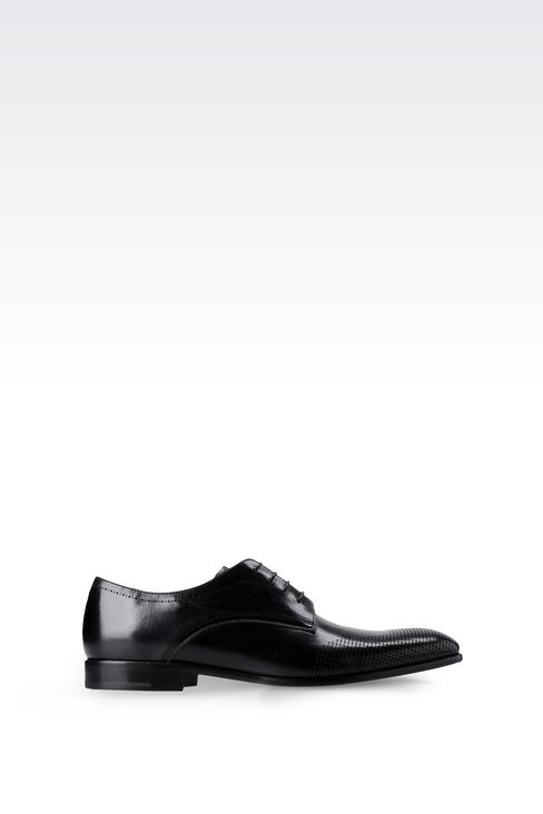 DERBY IN LASER-PERFORATED LEATHER: Lace-up shoes Men by Armani - 1