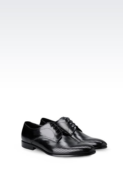 DERBY IN LASER-PERFORATED LEATHER: Lace-up shoes Men by Armani - 2