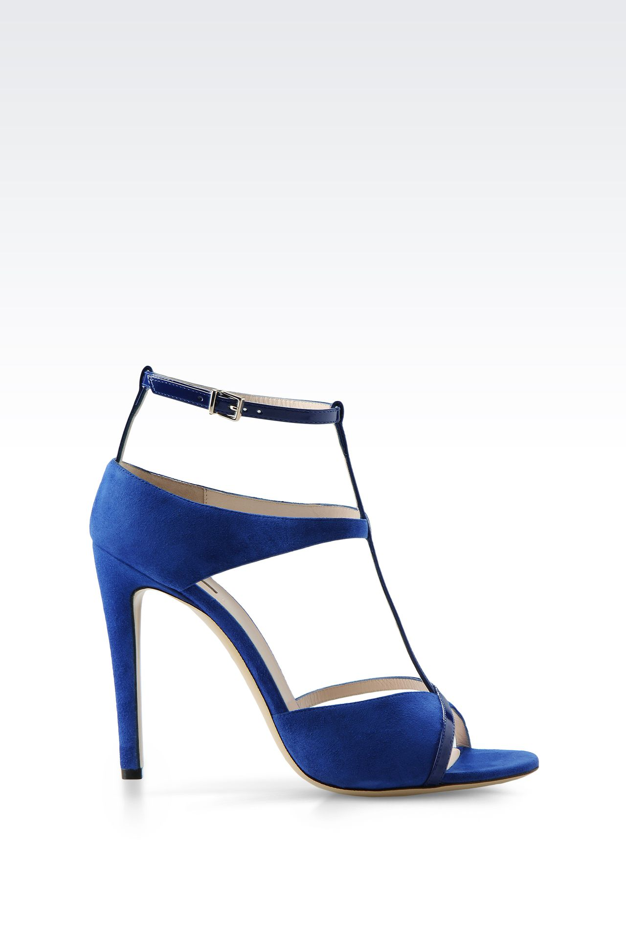 SANDAL IN SUEDE AND PATENT LEATHER WITH ANKLE STRAP: High-heeled sandals Women by Armani - 0
