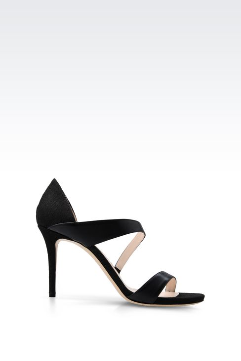 SANDAL IN LEATHER AND CANVAS: High-heeled sandals Women by Armani - 1
