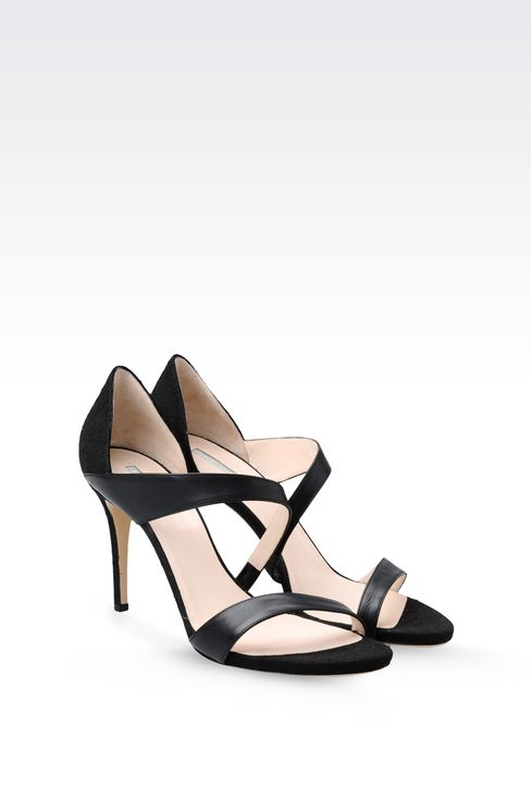 SANDAL IN LEATHER AND CANVAS: High-heeled sandals Women by Armani - 2
