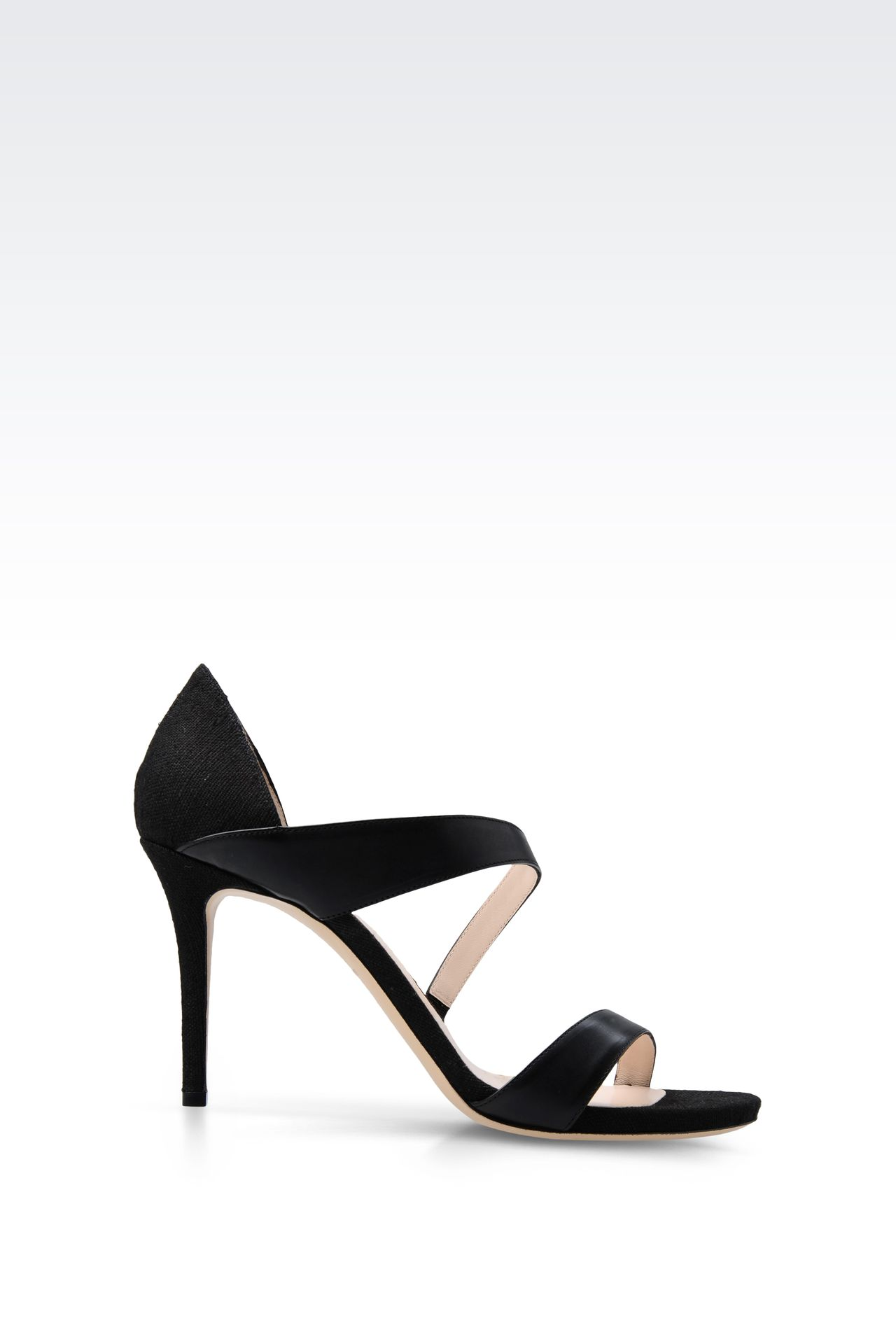 SANDAL IN LEATHER AND CANVAS: High-heeled sandals Women by Armani - 0