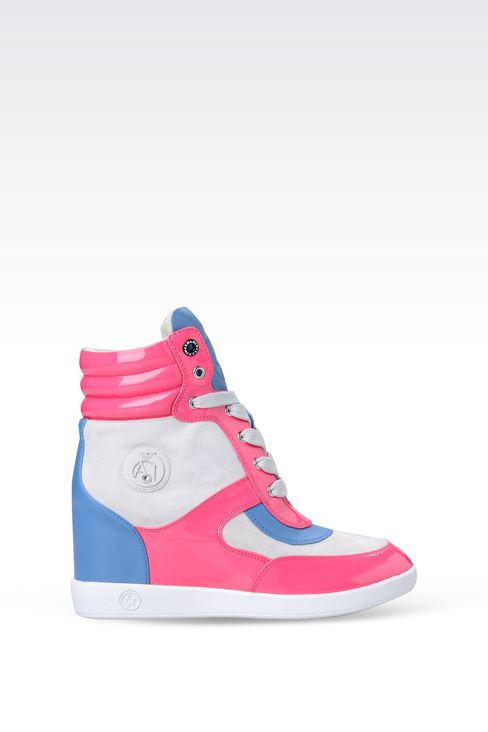 HIGH-TOP SNEAKER IN SUEDE AND PATENT ECO LEATHER WITH WEDGE: High-top sneakers Women by Armani - 1