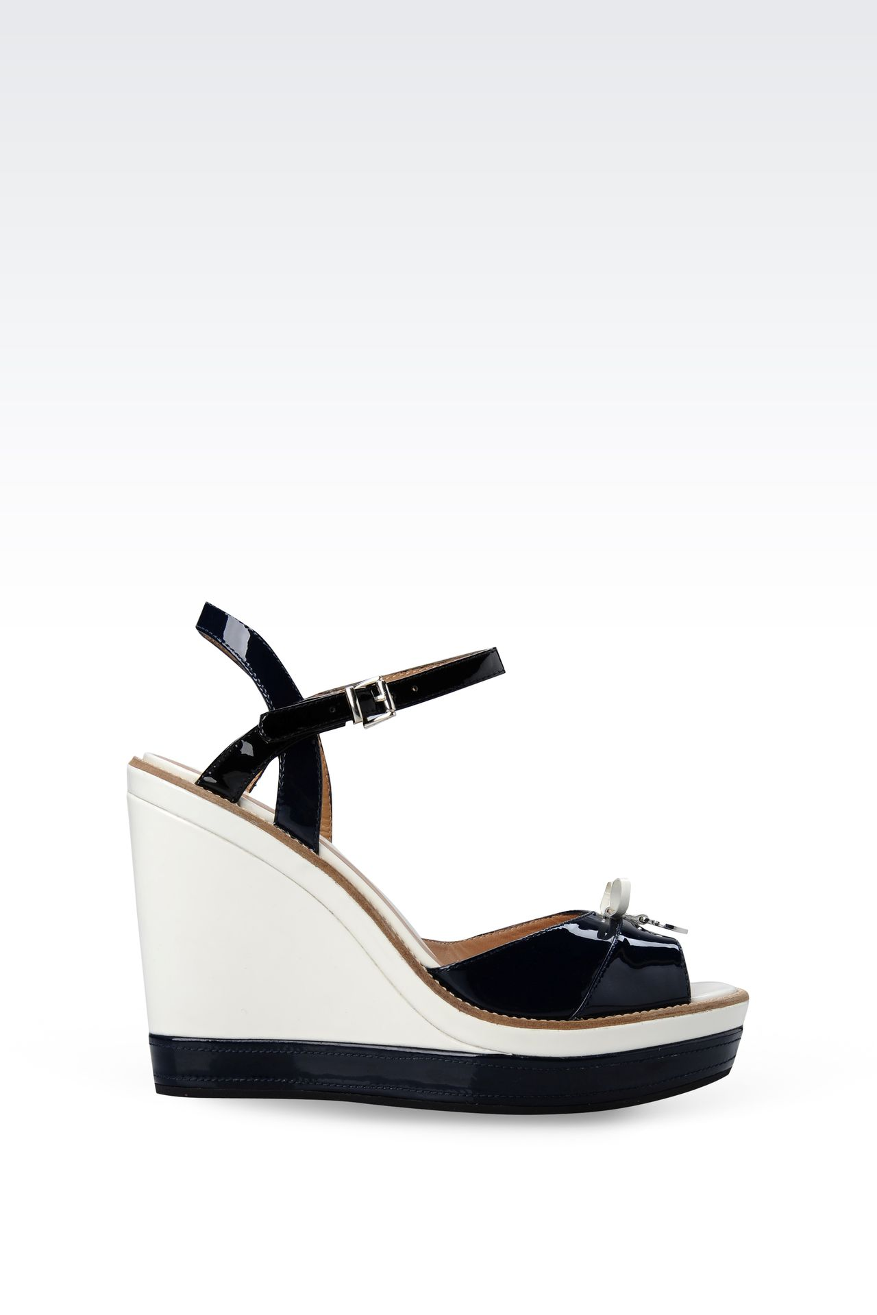 WEDGE SANDAL IN TWO-COLOR PATENT EFFECT LEATHER: Wedges Women by Armani - 0