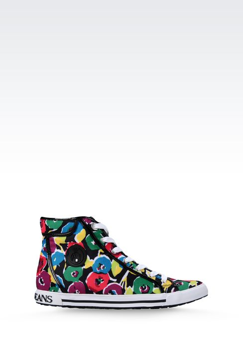 HIGH-TOP CANVAS SNEAKER WITH PATENT TRIM: High-top sneakers Women by Armani - 1