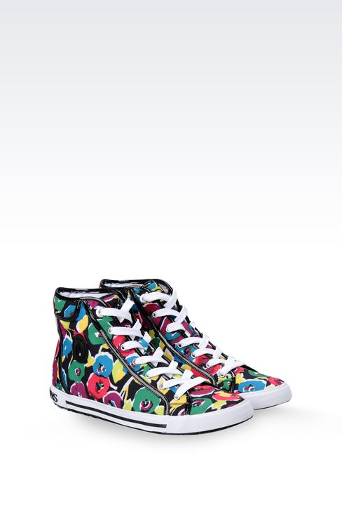 HIGH-TOP CANVAS SNEAKER WITH PATENT TRIM: High-top sneakers Women by Armani - 2