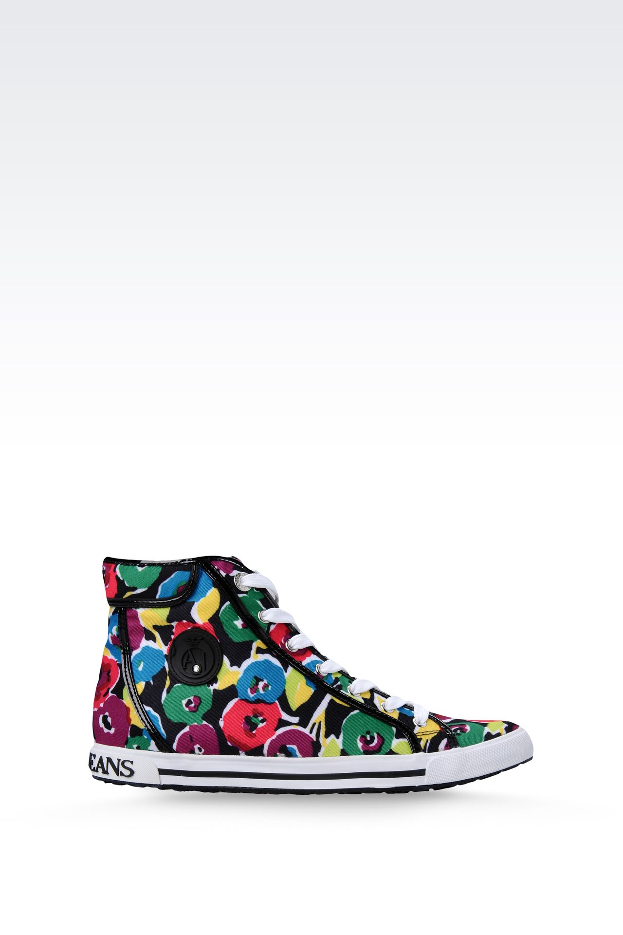 HIGH-TOP CANVAS SNEAKER WITH PATENT TRIM: High-top sneakers Women by Armani - 0