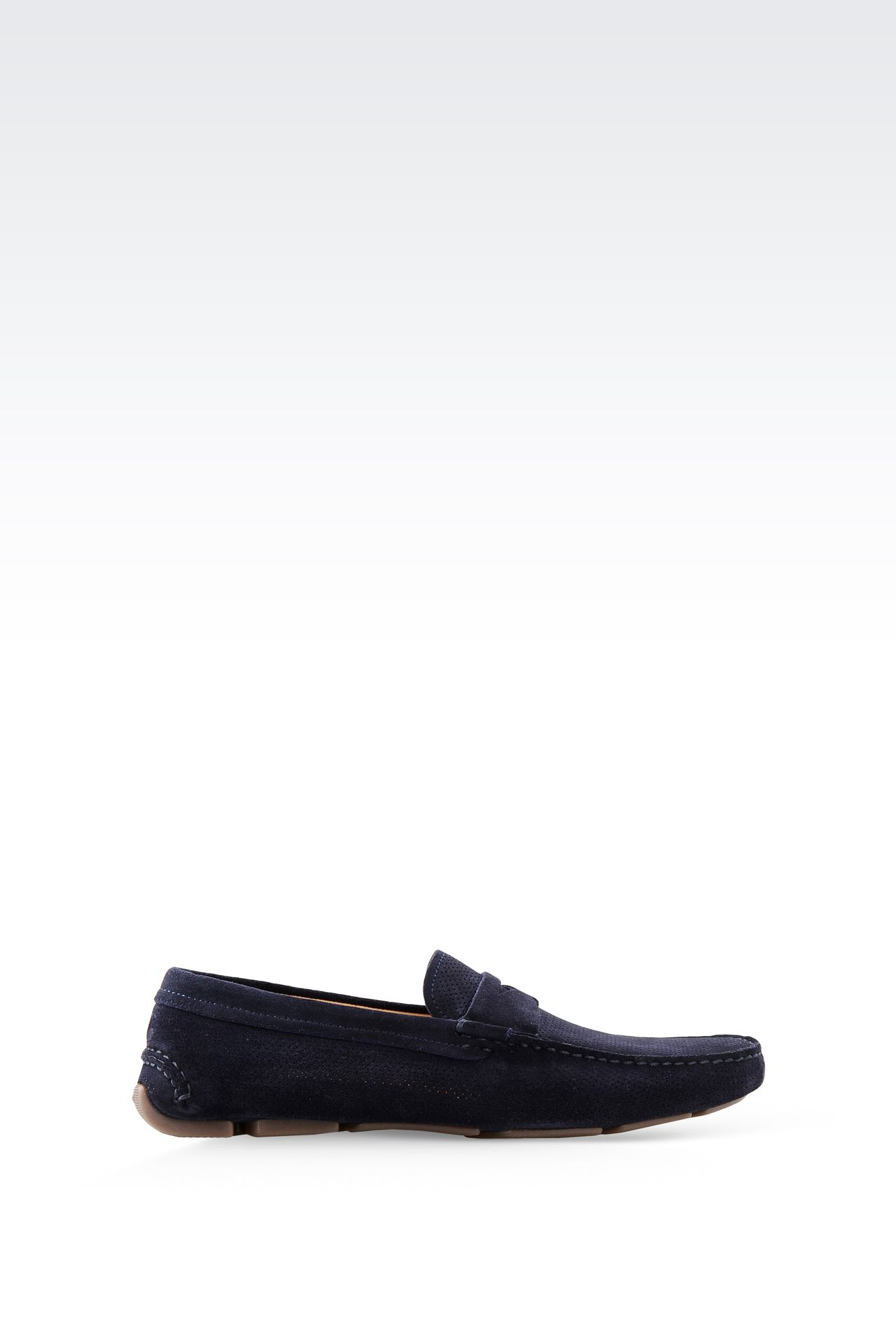 DRIVING SHOE IN MICRO PERFORATED SUEDE: Moccasins Men by Armani - 0