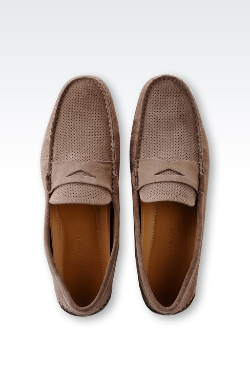 DRIVING SHOE IN MICRO PERFORATED SUEDE: Moccasins Men by Armani - 3