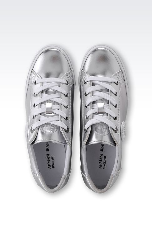 SNEAKER IN MIRROR EFFECT ECO LEATHER: Sneakers Women by Armani - 3
