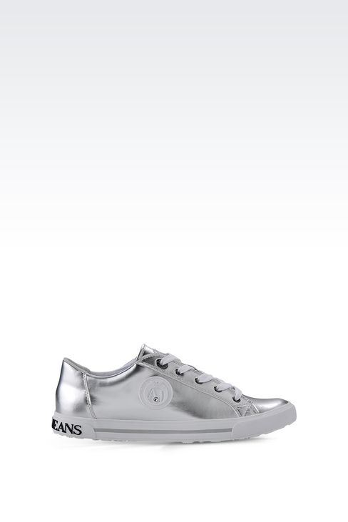 SNEAKER IN MIRROR EFFECT ECO LEATHER: Sneakers Women by Armani - 1