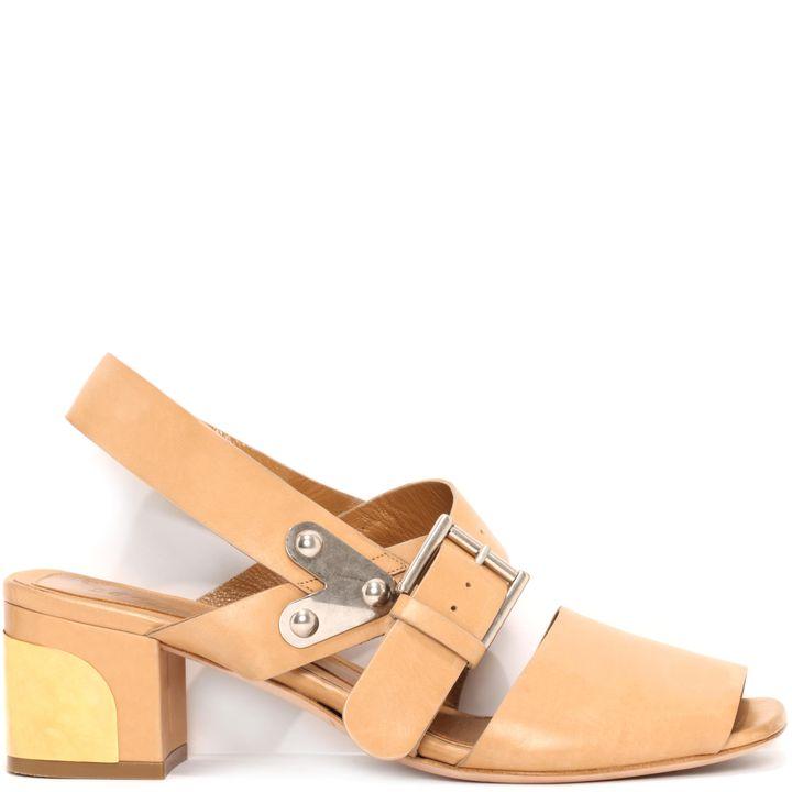 Alexander McQueen, Metal Plaque Block Heel Sandal