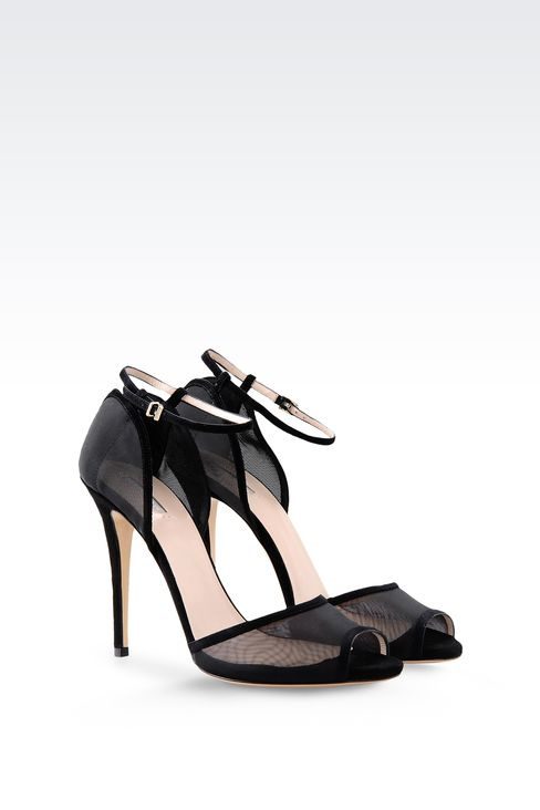 SANDAL IN SUEDE AND MESH WITH ANKLE STRAP: High-heeled sandals Women by Armani - 2