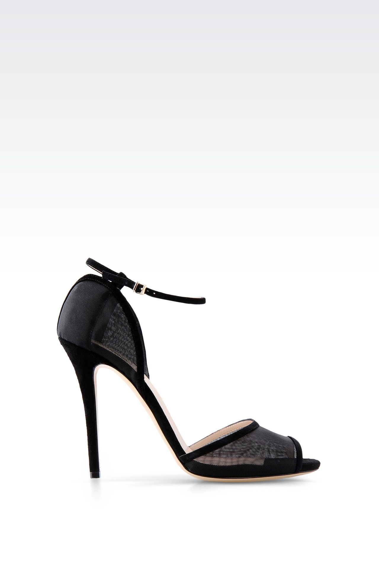 SANDAL IN SUEDE AND MESH WITH ANKLE STRAP: High-heeled sandals Women by Armani - 0
