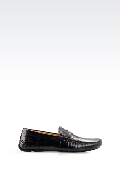 DRIVING SHOE IN CROC PRINT CALFSKIN: Moccasins Men by Armani - 1