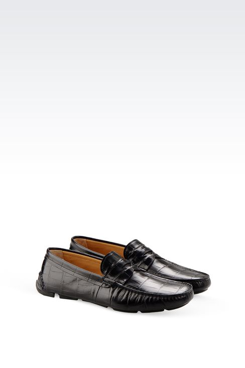 DRIVING SHOE IN CROC PRINT CALFSKIN: Moccasins Men by Armani - 2