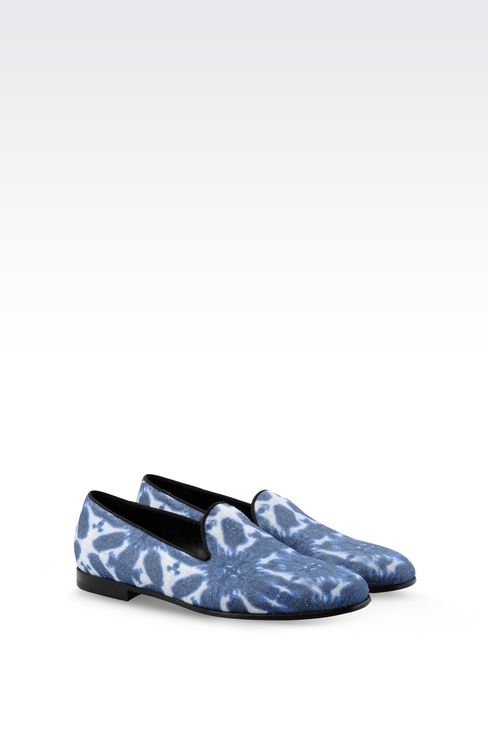 SLIP-ON IN PRINTED FABRIC WITH GROSGRAIN TRIM: Moccasins Men by Armani - 2