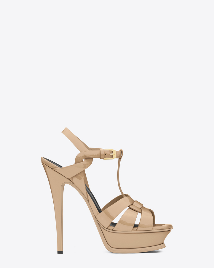 Saint Laurent CLASSIC TRIBUTE 105 SANDAL IN Powder PATENT LEATHER ...