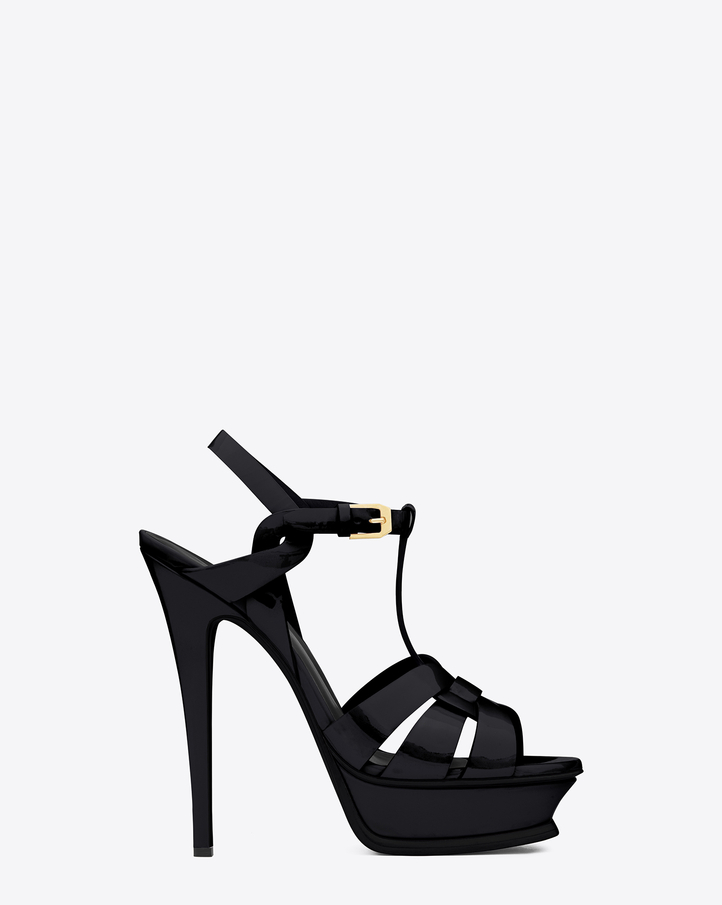 Saint Laurent Classic Tribute 105 Sandal In Black Patent