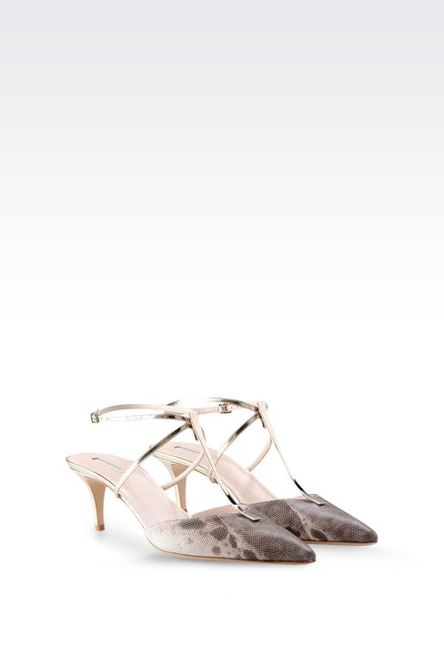 SLING BACK IN KARUNG AND MIRROR CALFSKIN: Slingbacks Women by Armani - 2