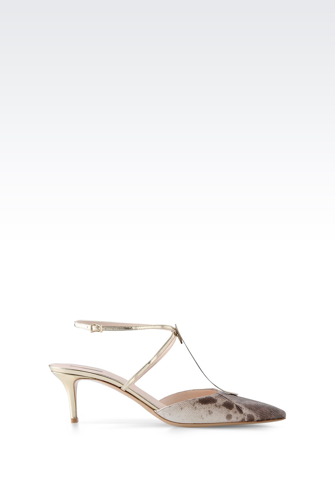 SLING BACK IN KARUNG AND MIRROR CALFSKIN: Slingbacks Women by Armani - 0